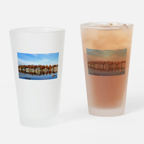 boat house row daytime Drinking Glass