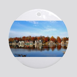 boat house row daytime Ornament (Round)