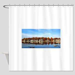 boat house row daytime Shower Curtain