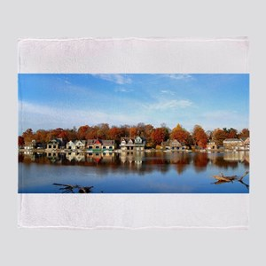 boat house row daytime Throw Blanket