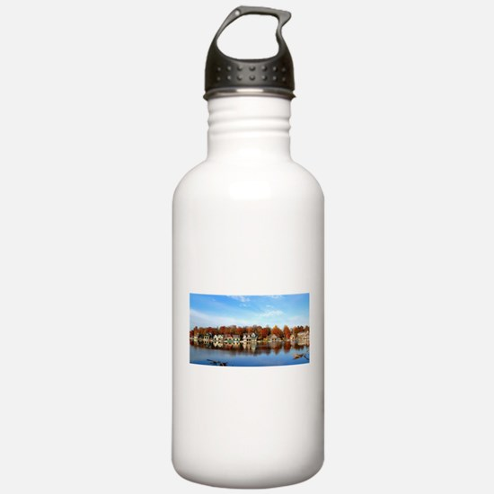 boat house row daytime Water Bottle