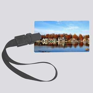 boat house row daytime Large Luggage Tag