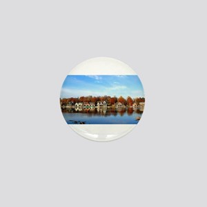 boat house row daytime Mini Button