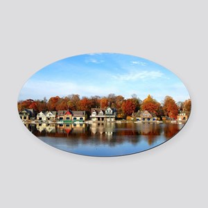 boat house row daytime Oval Car Magnet