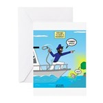 Houseboat Docking Greeting Cards (Pk of 10)