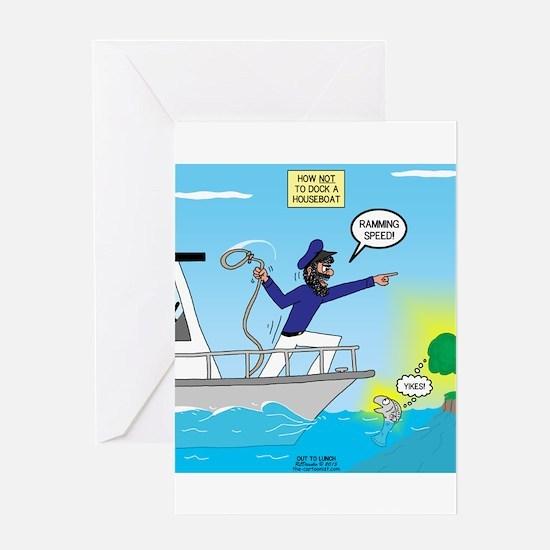 Houseboat Docking Greeting Card