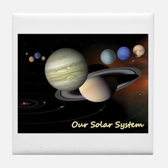 Earth's Solar System + Pluto's Heart Tile Coaster