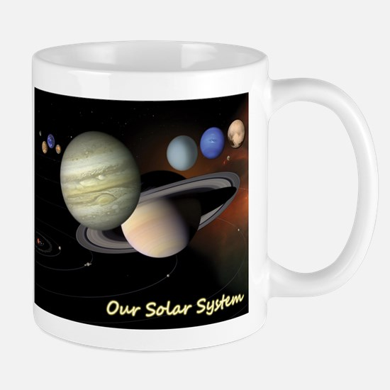 Earth's Solar System + Pluto's Heart Mug
