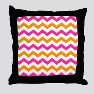 Pink and Orange Chevron Pattern Throw Pillow