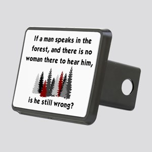 IF A MAN SPEAKS IN THE FOR Rectangular Hitch Cover