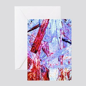 Red And Blue Plywood Greeting Cards