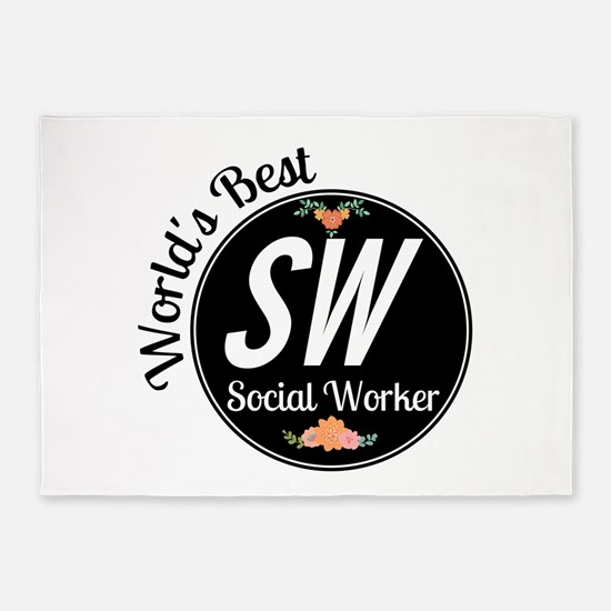 World's Best Social Worker 5'x7'Area Rug