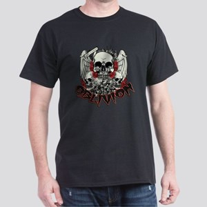 Oblivion Skulls Wings Roses and Alien text T-Shirt