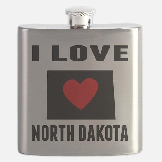 I Love North Dakota Flask