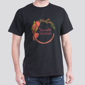 Personalized Name Floral Wreath Dark T-Shirt