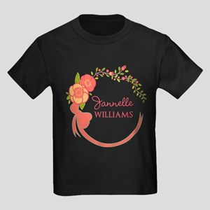 Personalized Name Floral Wreath Kids Dark T-Shirt