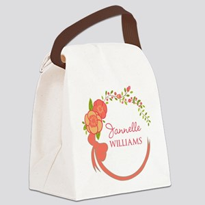Personalized Name Floral Wreath Canvas Lunch Bag
