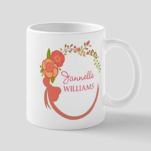 Personalized Name Floral Wreath Mug
