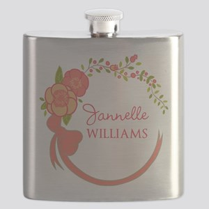 Personalized Name Floral Wreath Flask