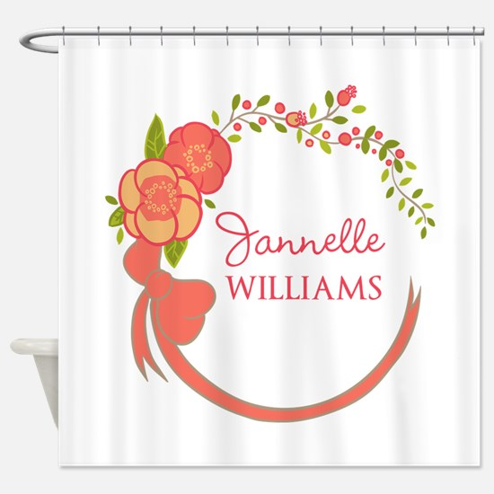 Personalized Name Floral Wreath Shower Curtain