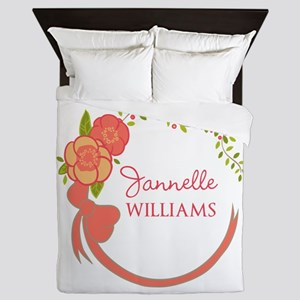 Personalized Name Floral Wreath Queen Duvet