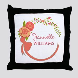 Personalized Name Floral Wreath Throw Pillow