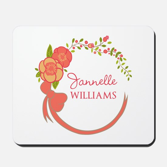 Personalized Name Floral Wreath Mousepad