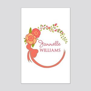 Personalized Name Floral Wreath Mini Poster Print