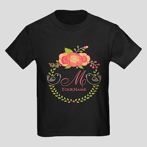 Floral Wreath Monogram Kids Dark T-Shirt