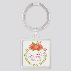 Floral Wreath Monogram Square Keychain