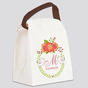 Floral Wreath Monogram Canvas Lunch Bag