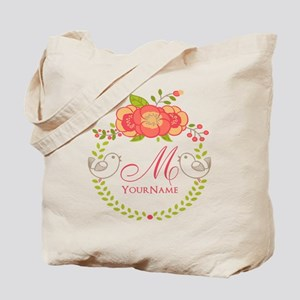 Floral Wreath Monogram Tote Bag