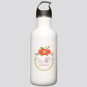 Floral Wreath Monogram Stainless Water Bottle 1.0L