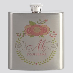 Floral Wreath Monogram Flask
