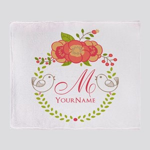 Floral Wreath Monogram Throw Blanket