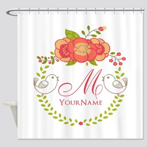 Floral Wreath Monogram Shower Curtain