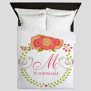 Floral Wreath Monogram Queen Duvet