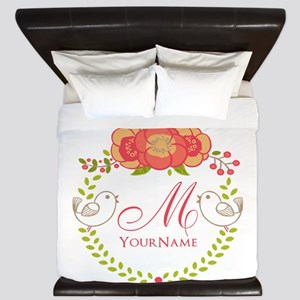 Floral Wreath Monogram King Duvet