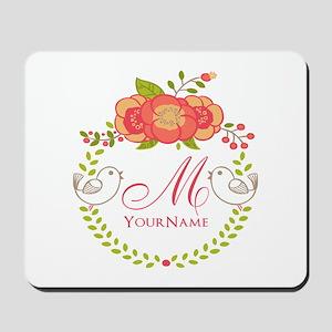 Floral Wreath Monogram Mousepad
