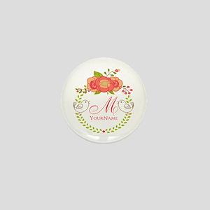 Floral Wreath Monogram Mini Button