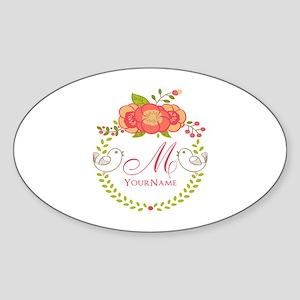 Floral Wreath Monogram Sticker (Oval)