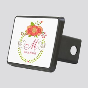 Floral Wreath Monogram Rectangular Hitch Cover