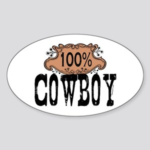 100% Cowboy Oval Sticker
