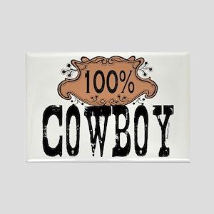 100% Cowboy Rectangle Magnet