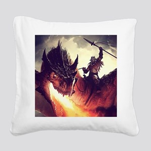 Evil Warrior Riding Dragon Square Canvas Pillow