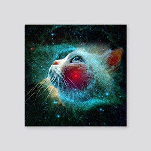 "space cat Square Sticker 3"" x 3"""
