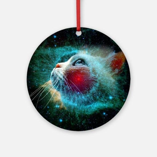 space cat Round Ornament