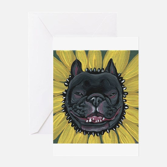 French Bulldog Sunflower Greeting Cards
