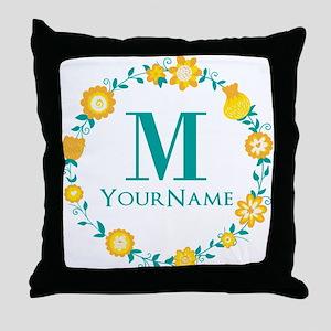 Teal Yellow Floral Wreath Monogram Throw Pillow