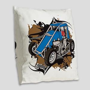 Midget Racing Burlap Throw Pillow